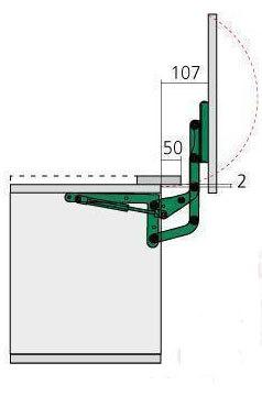 ferrure pour porte relevante micro ondes 3a7 cuisinesr. Black Bedroom Furniture Sets. Home Design Ideas