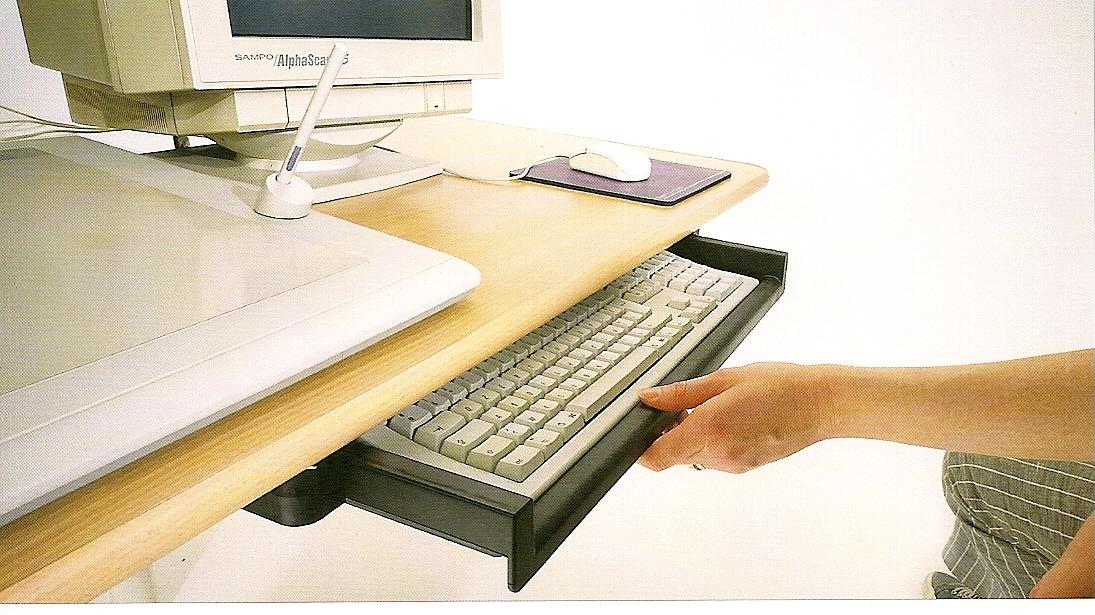Support clavier ordinateur noir 2b7 cuisinesr ngementsbains - Support clavier coulissant ...